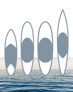 Sizes and shapes of paddle boards