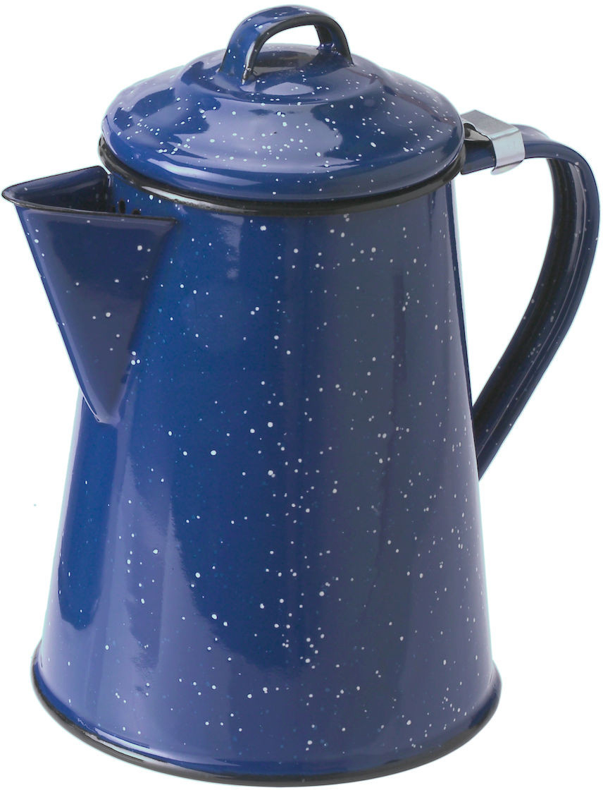 Enameled steel coffee pot 8 cup for camping