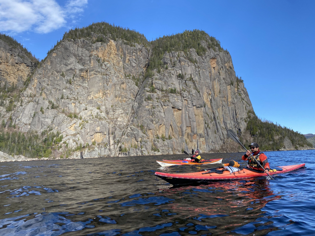 A group of people kayaking