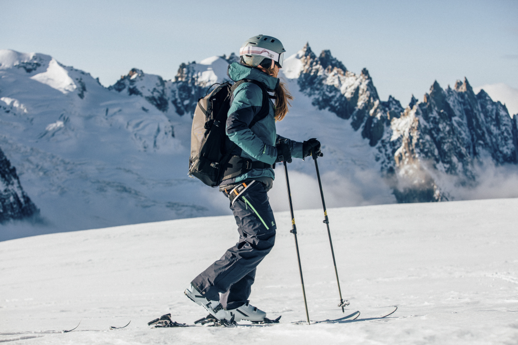 Skis and helmet for alpine touring