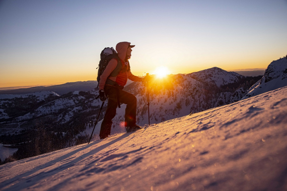 Alpine touring in the early morning